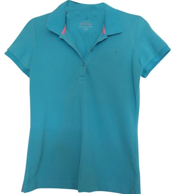 Lilly Pulitzer Polo Shirt Button Down Shirt Ariel Blue