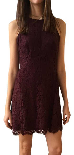 Ann Taylor Maroon Lace Short Formal Dress Size Petite 4 (S) Ann Taylor Maroon Lace Short Formal Dress Size Petite 4 (S) Image 1