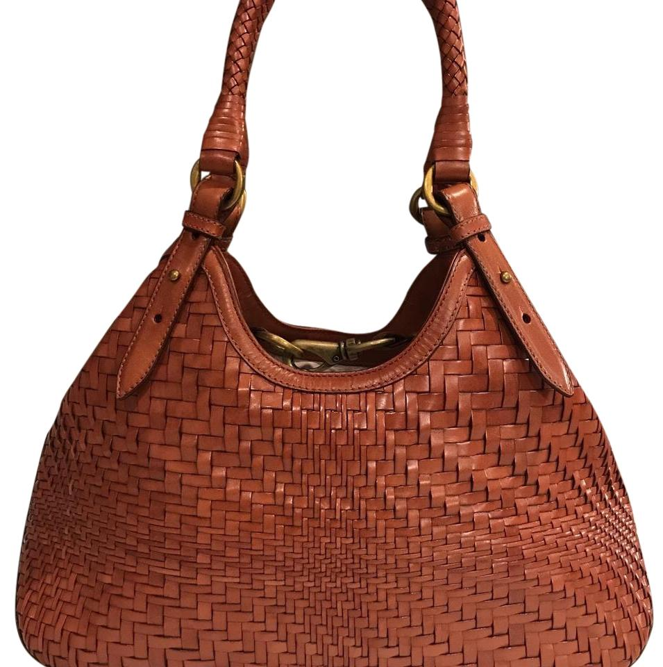 Cole Haan Triangle Woven Weave Leather Braided Tote In Saddle Brown Cognac