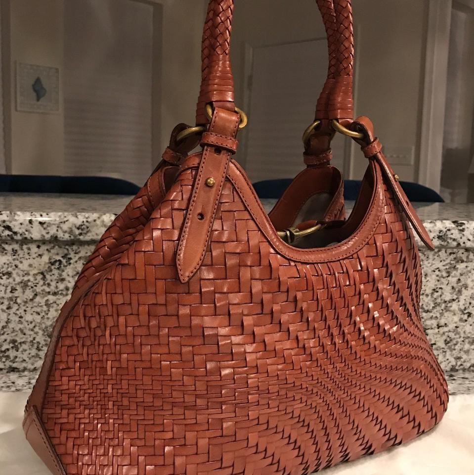 Cole Haan Genevieve Woven Weave Triangle Hobo Handbag Saddle Brown   Cognac Brown  Leather Tote - Tradesy a9058cfc183c3