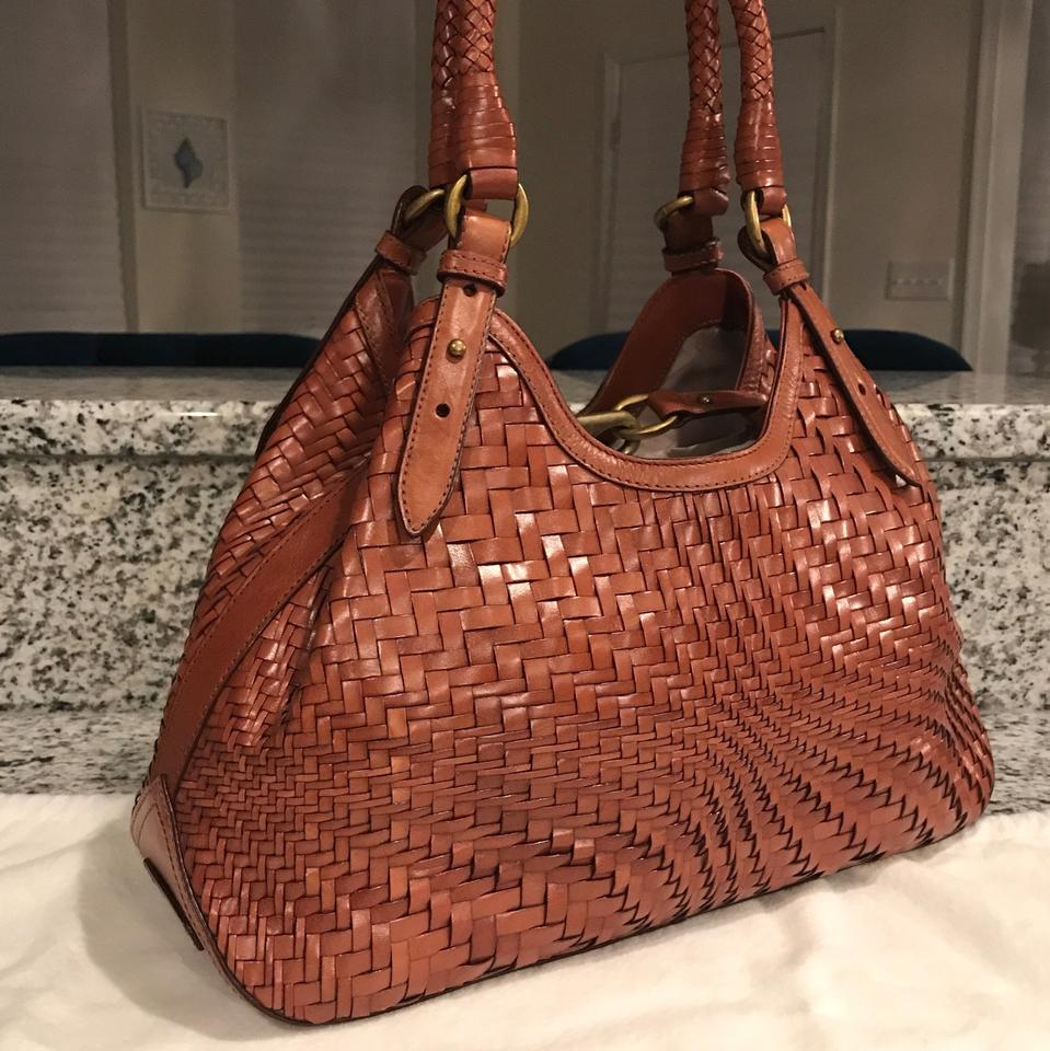 Cole Haan Triangle Woven Weave Leather Braided Tote In Saddle Brown Cognac 123456789101112
