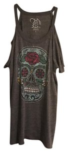 Chaser T Shirt gray with skull