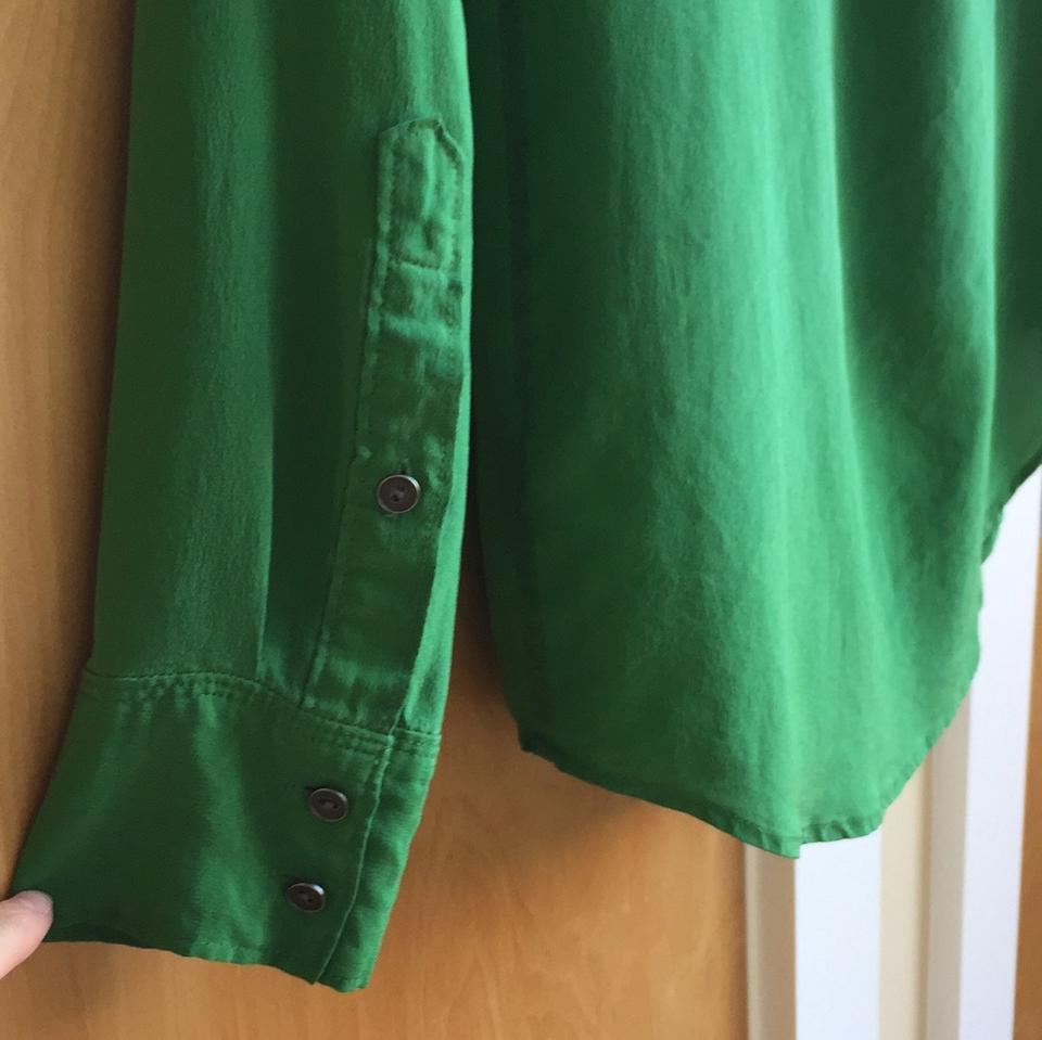 f32c5eb4177708 Broadway   Broome Madewell Silk Blouse Button Down Shirt Green Image 8.  123456789