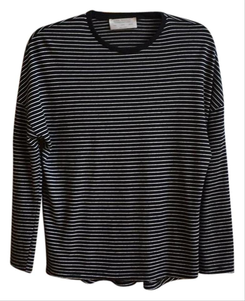 Zara Black Striped Knit Tee Shirt Size 8 M Tradesy