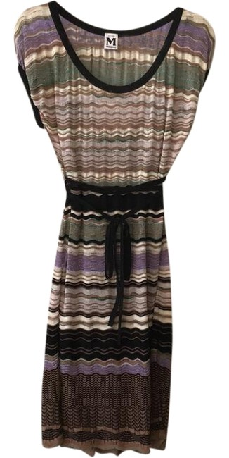 Item - Mauve/Purple Multi Cap Sleeve with Tie Mid-length Night Out Dress Size 6 (S)