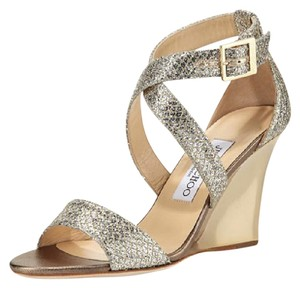 Jimmy Choo Glitter Leather Lined Champagne Wedges