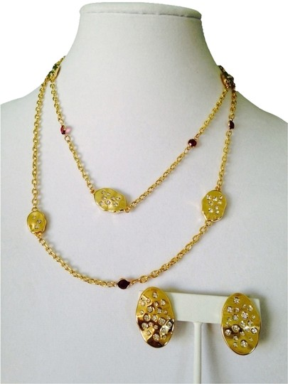 Bill Blass NWOT 2-Piece Set Red & White Cubic Zirconia Gold-Tone Long Necklace & Earrings