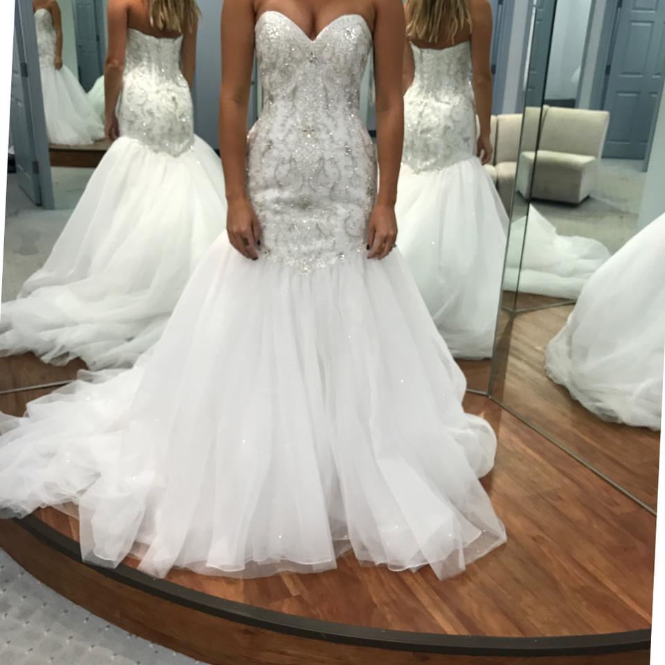 10528a39059 Alfred Angelo White Tulle Ariel Sexy Wedding Dress Size 4 (S) Image 0 ...