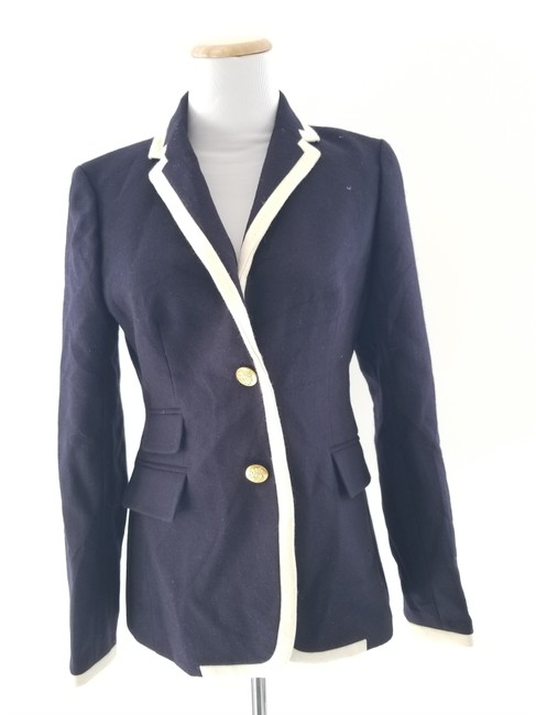 Item - Navy and Ivory Tipped Hacking Jacket Size 4 (S)