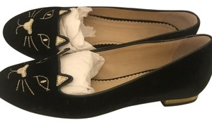 Charlotte Olympia Whimsical Kitty Design Made In Italy Black Flats