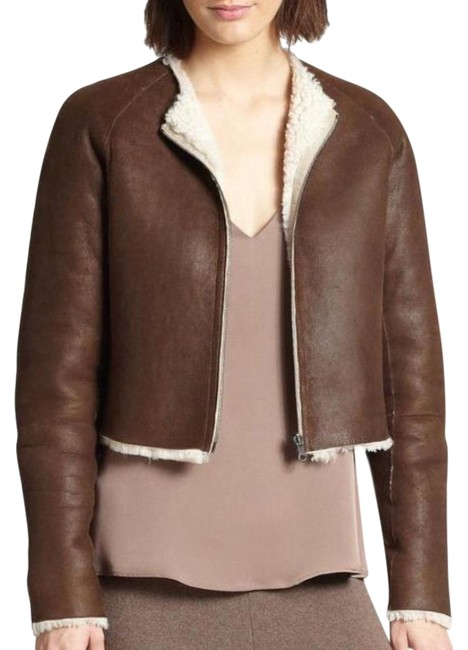 Item - Brown White Cream Reversible Cropped Shearling Jacket Size 0 (XS)