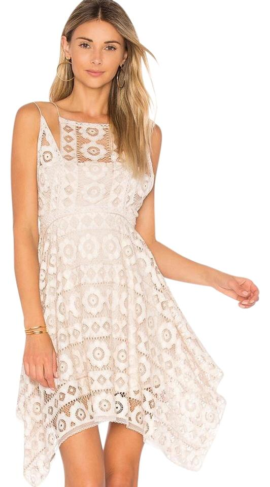3872ef8a34 Free People Ivory Just Like Honey Lace Asymmetric Short Casual Dress ...