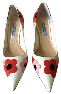 Prada Patent Leather Rare Floral White Pumps