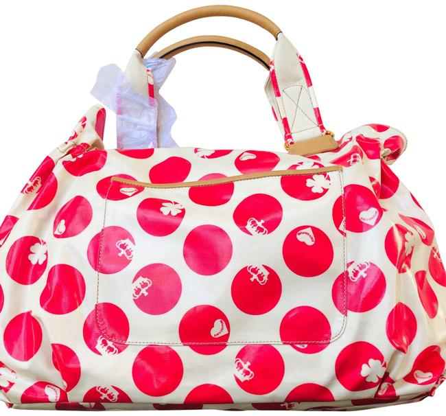 Item - Polka Dot X-large Tote Pink Coated Canvas - Leather Straps Beach Bag