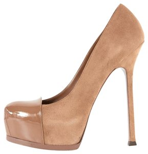 Saint Laurent Suede Hidden Platform Patent Leather Tribtoo Tan Pumps