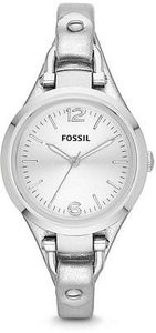 Fossil Fossil Georgia Metallic Silver Leather Ladies Watch Es3412