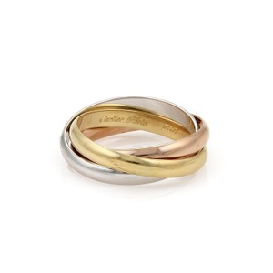 Cartier Trinity 18k Tri-Color Gold 3mm Rolling Band Ring Size EU 59-US 8.5
