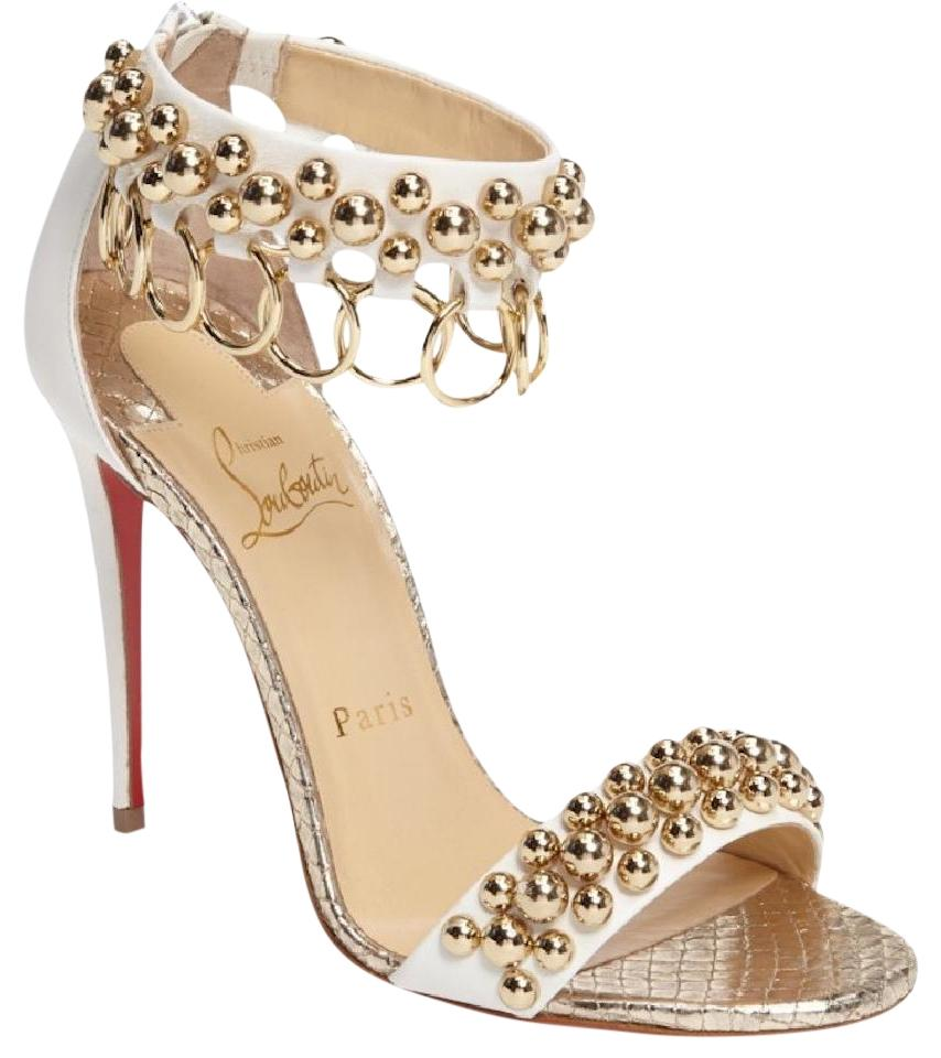 Christian Louboutin White Gypsandal 100 Gold Pumps Ankle Strap Sandal Heel Pumps Gold 4c640f