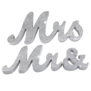 Silver Glitter Mr. & Mrs. Wooden Letters