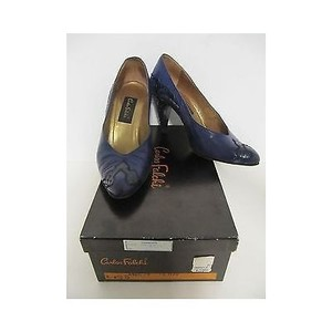 Carlos Falchi Vintage Womens Skin Leather Heels Blue Pumps