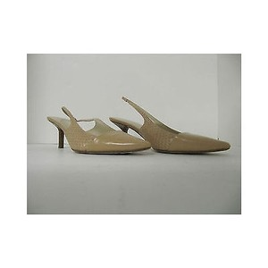 Michael Kors Womens Leather Slingback Heels Beige Pumps