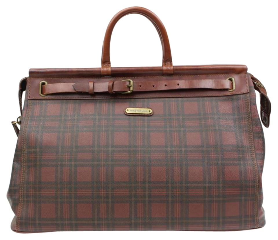 92a427eb09e9 Polo Ralph Lauren Plaid Xl Birkin Hac 2189909 Burgundy Canvas  Weekend Travel Bag