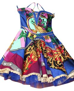 Versace Vintage 90s Gianni Runway Print Baroque Party Dress