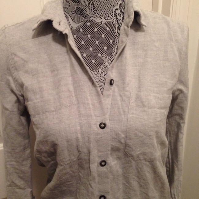 Topshop Button Down Shirt Gray Image 1