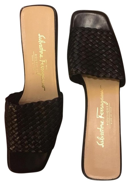 Item - Black Woven Leather Slide Sandals Size US 7.5 Narrow (Aa, N)