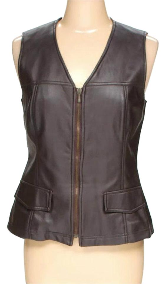 8bd5f518b46 Counterparts Brown Leather Style Zipped Vest Motorcycle Jacket Size ...