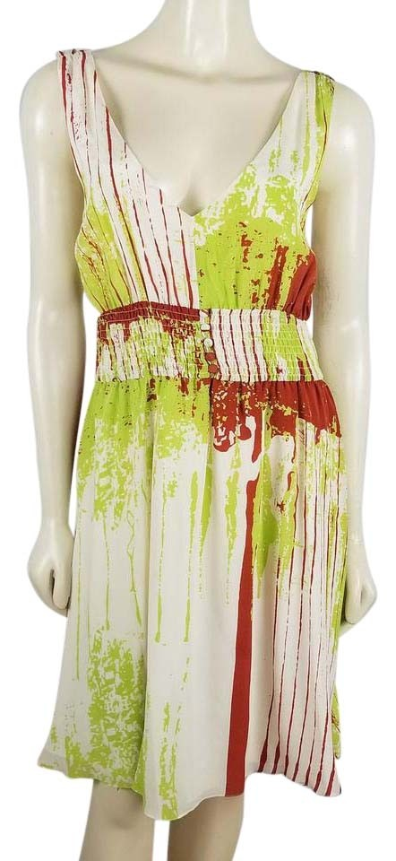 4e8890d6b1e9 Ivory Lime Green and Burgundy Empire Waist Low Cut V Neck Silk Casual Dress