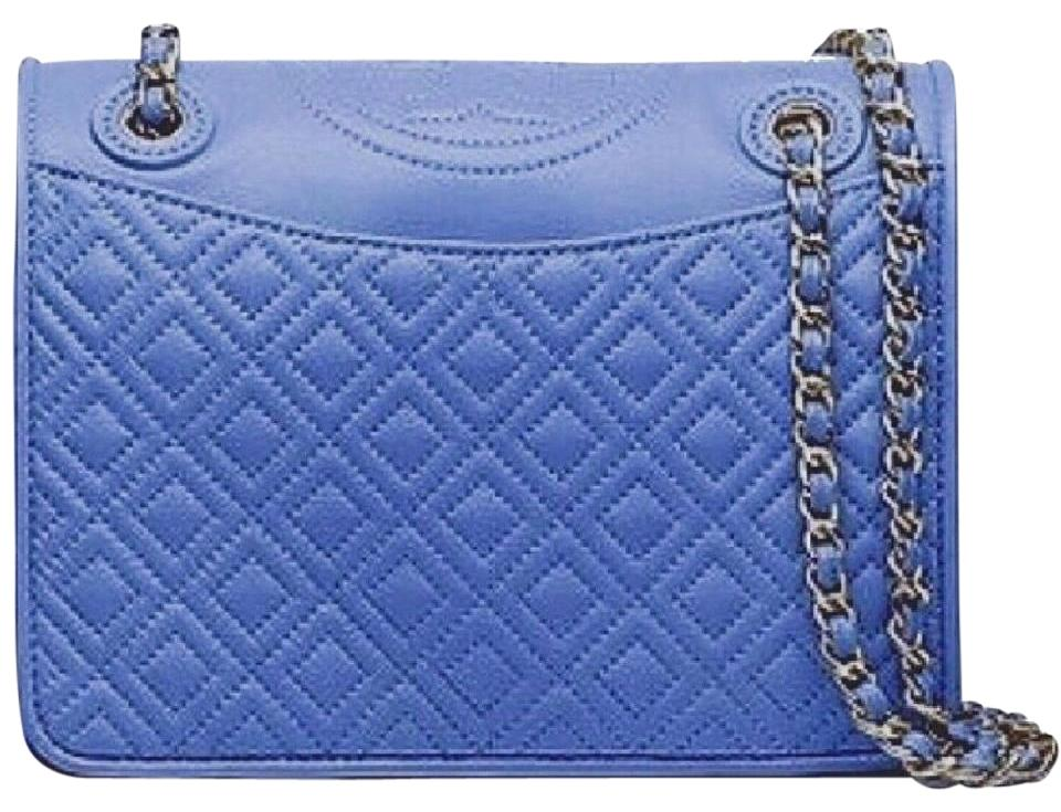 83d535daf3dad Tory Burch Fleming Medium Quilted Lotus Blue Lambskin Leather Shoulder Bag
