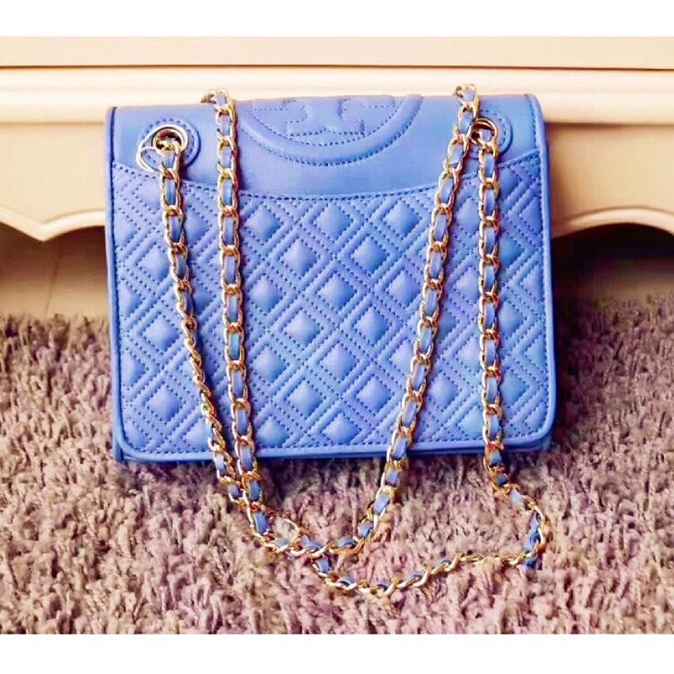 62d3ee38e6b54 Tory Burch Fleming Medium Quilted Lotus Blue Lambskin Leather Shoulder Bag  - Tradesy