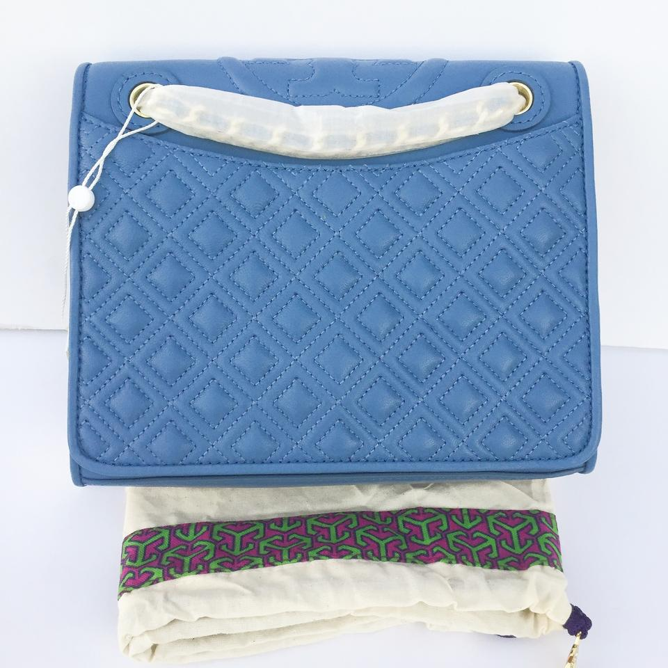 8f538e3ba59 Tory Burch Fleming Medium Quilted Lotus Blue Lambskin Leather ...