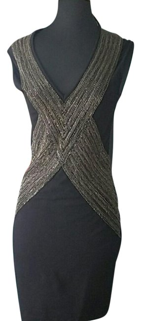 Item - Black Chain Embellished Sheath Mid-length Night Out Dress Size 6 (S)