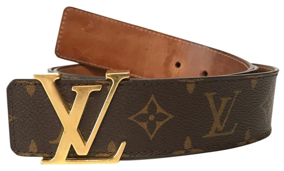 7c79658986aa Louis Vuitton Monogram Canvas Brown Men s Gold Lv Initials 40mm Mono 100 40  Belt
