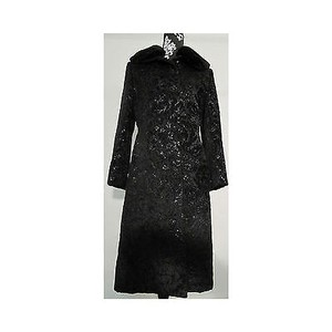 Cinzia Rocca Brocade Floral Long Removable Carved Fur Coat