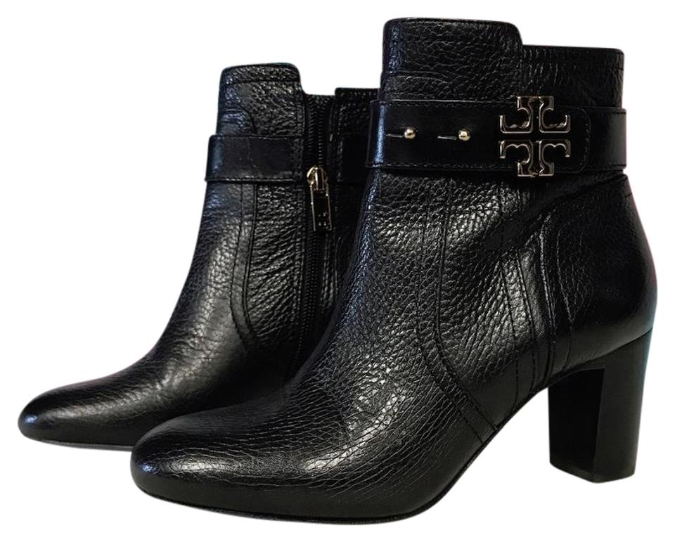Tory Burch Black Elina T Leather Logo Elina Black Ankle Boots/Booties dbaed3