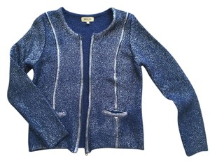 Beulah Silver Coating Lacquer Knit Blazer Holiday Platinum Cardigan