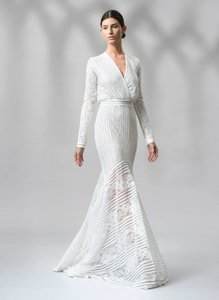 Tadashi Shoji White Stretch Jersey Knit Stripe And Fl Lace Long Sleeve Gown Aom2120l Ivory