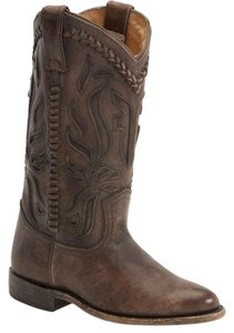 Frye Leather Cowboy Distressed Embroidered Cognac Boots
