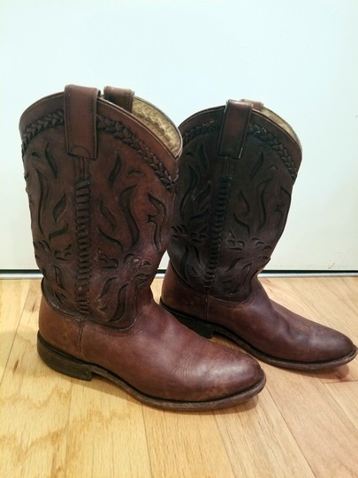 Frye Leather Cowboy Distressed Embroidered Cognac Boots Image 2