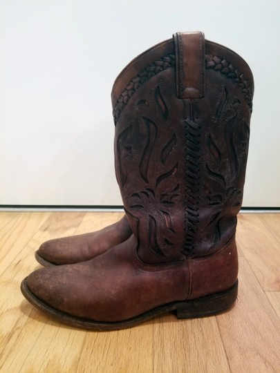 Frye Leather Cowboy Distressed Embroidered Cognac Boots Image 3