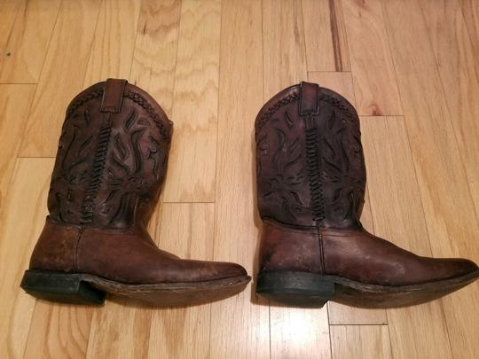 Frye Leather Cowboy Distressed Embroidered Cognac Boots Image 4