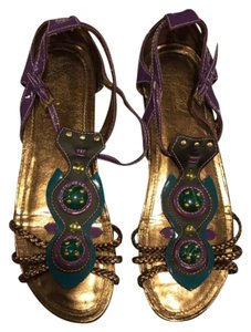 Wanted Purple & Turquoise & Gold Flats