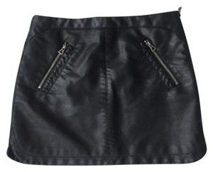 Silence + Noise Faux Leather Leather Moto Urban Outfitters Mini Skirt Black