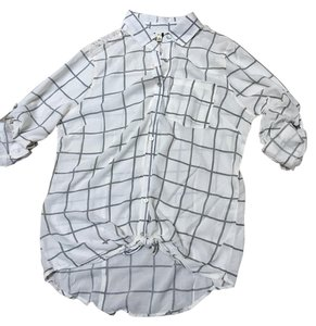 About A Girl Button Down Shirt Ivory and grey