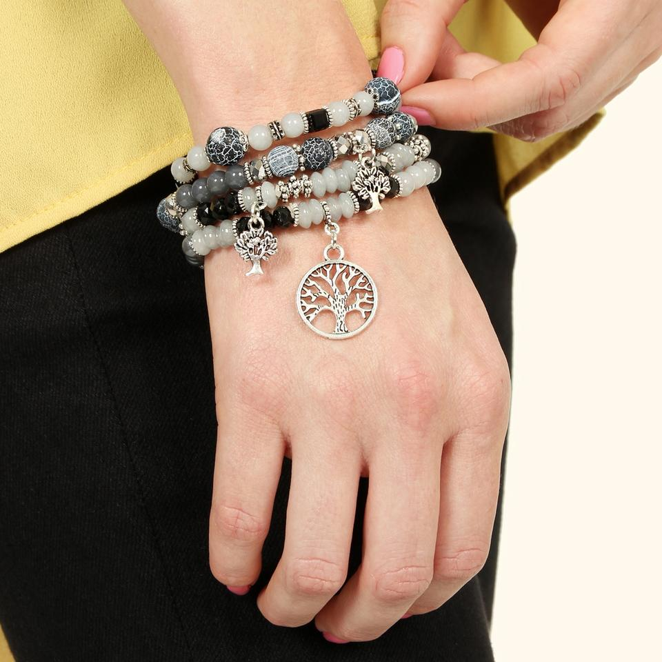 Black Tree Of Life Charm Multi Beaded Stretch Bracelet Tradesy