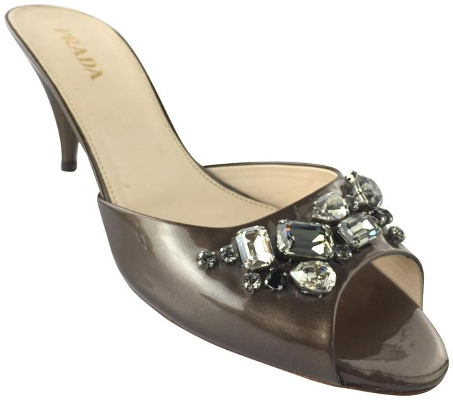 Item - Brown Jeweled Patent Leather Mules/Slides Size EU 38 (Approx. US 8) Regular (M, B)