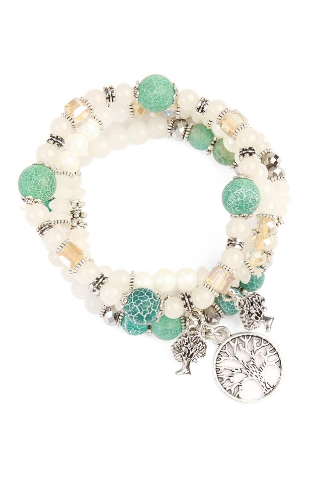 Natural Tree Of Life Charm Multi Beaded Stretch Bracelet Tradesy